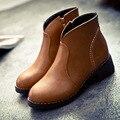 Mulheres Botas de Couro macio Mulheres Sapatos de Outono Marca Zip Preto Feminino botas de Moda Plana Botas de Salto Alto Tornozelo Para As Mulheres Tamanho Grande 40