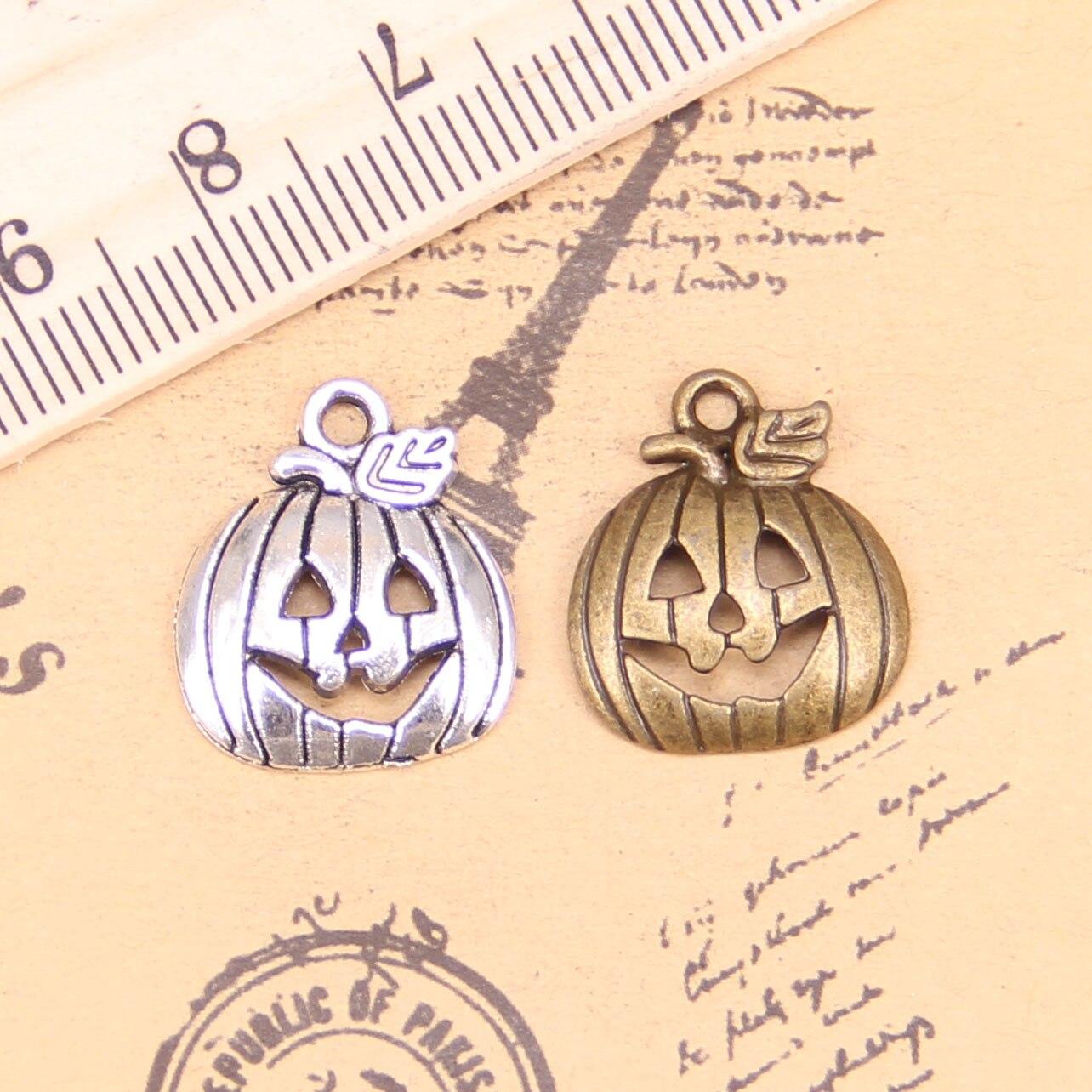 10 Halloween Pumpkin Charm Pendant Beads Jewelry DIY Antique Tibetan SilvDD