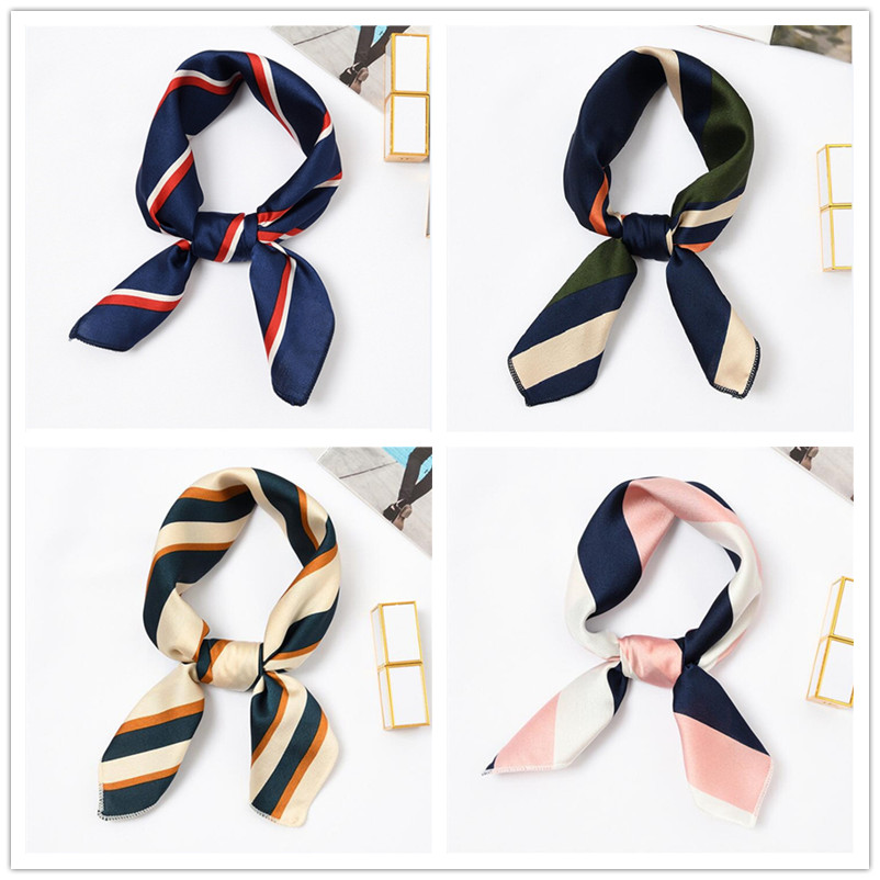 50x50 Cm Women Scarf Summer Fashion Neckerchief Air Hostess Scarf Square Scarves For Ladies Satin Silk Scarf Head Band Neck Tie