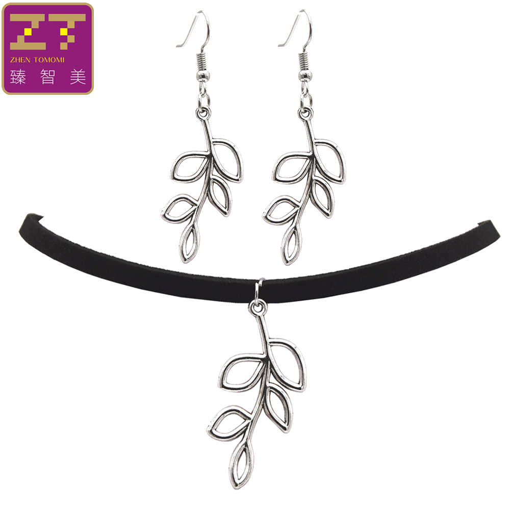 2018 Fashion Black Velvet Leather Bijoux Vintage Retro Plant Leaves Pendants Choker Necklace/Drop Earrings Women Jewelry Sets