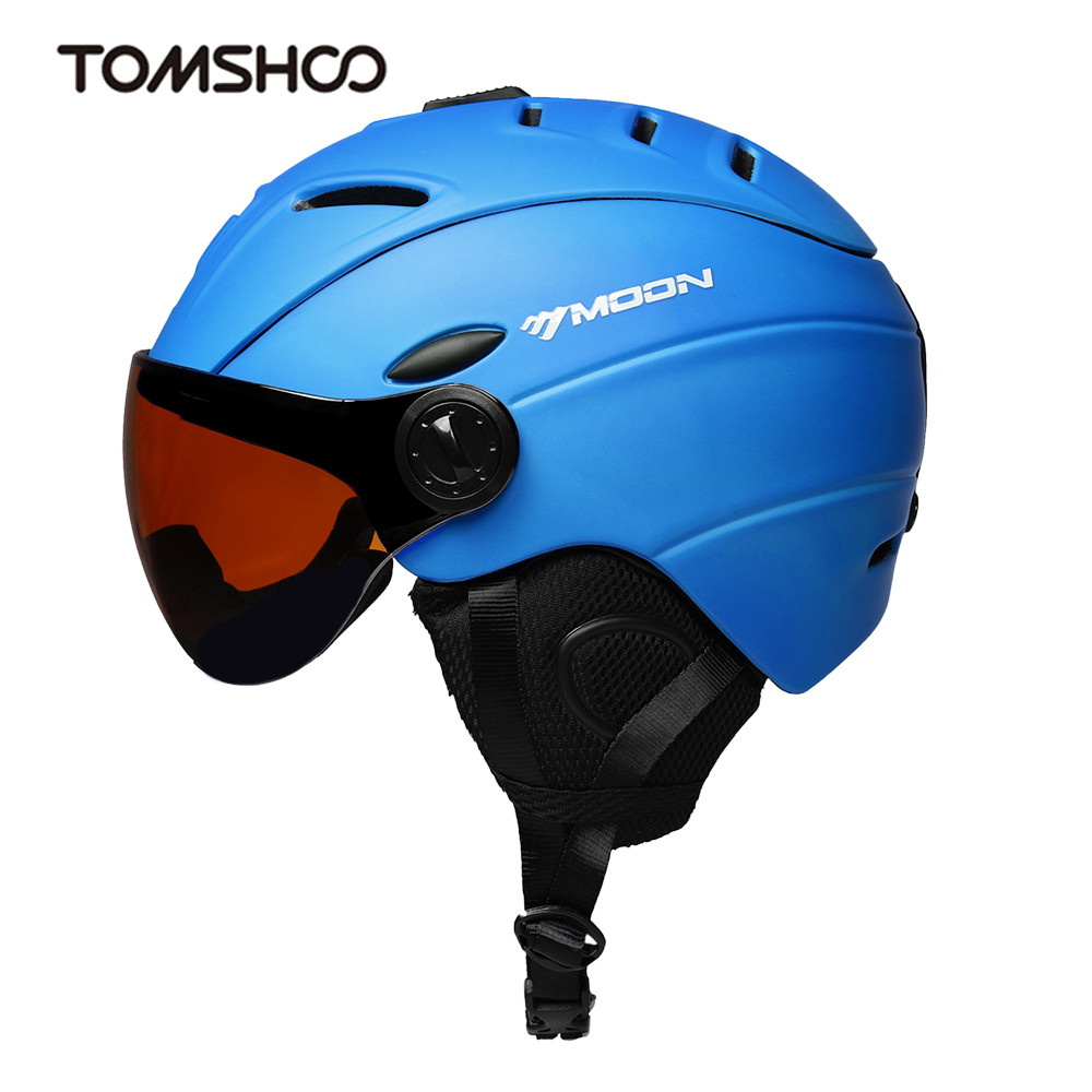 Integrally molded Ski Helmet visor Sports Safety CE Skateboard Snowboard Skiing Helmet with Detachable Earmuff Ski