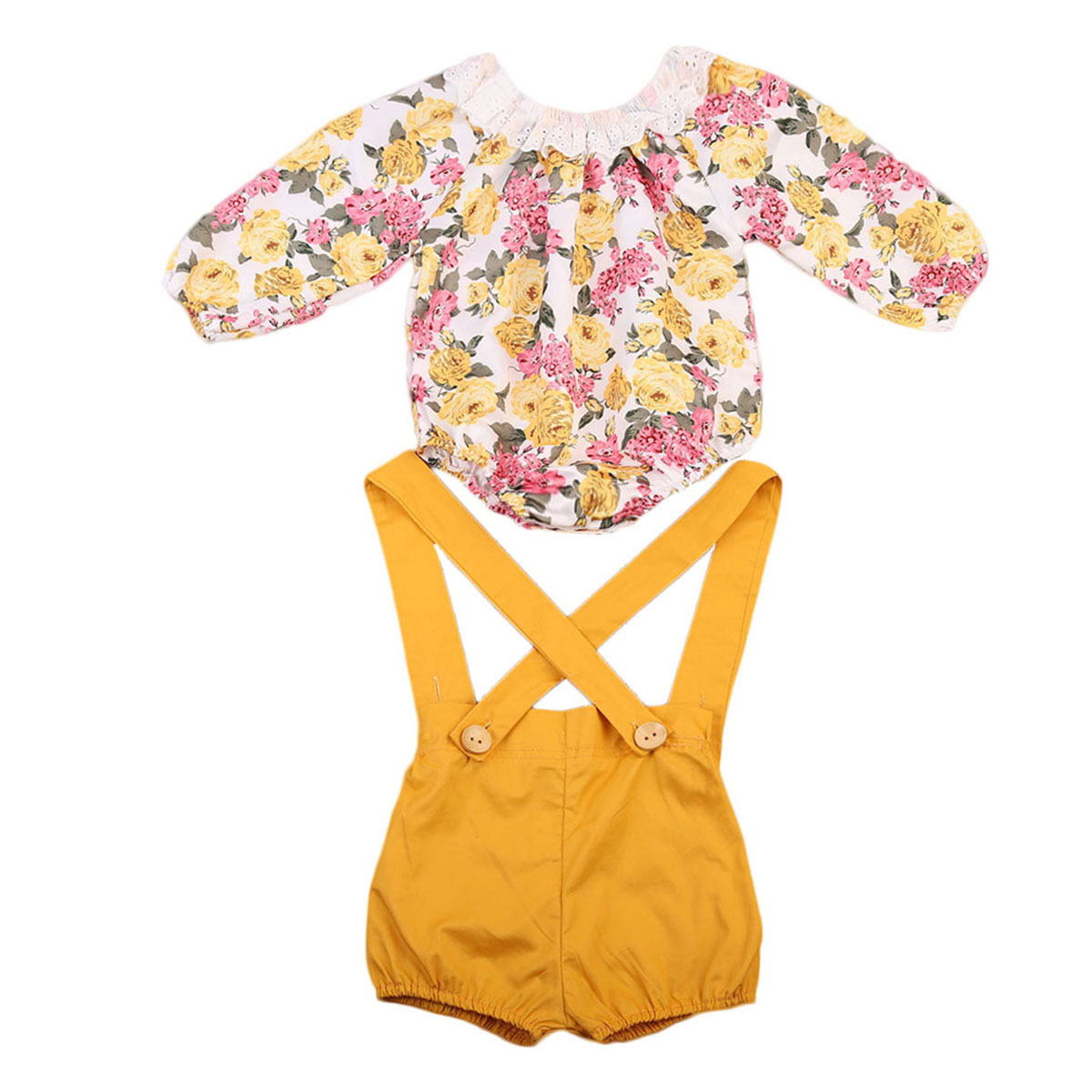 New Style Newborn Baby Girls Clothes Princess Long Sleeve Romper+Short Pants Jumpsuit Sunsuit Baby Clothing Set 0-24M