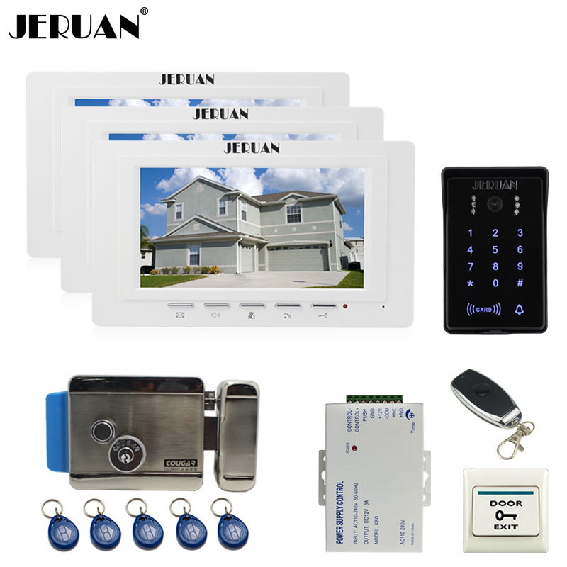 JERUAN 7`` TFT Video Intercom Video Door Phone System 3 white monitor RFID Waterproof Touch key Camera+Remote control Unlocked jeruan luxury 7 lcd video doorphone intercom system 2 monitor rfid waterproof touch key password keypad camera remote control