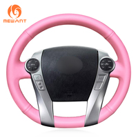 MEWANT Pink Artificial Leather Car Steering Wheel Cover for Toyota Prius 30(XW30) 2009 2015 Prius C(US)2012 2017 Prius V(US)