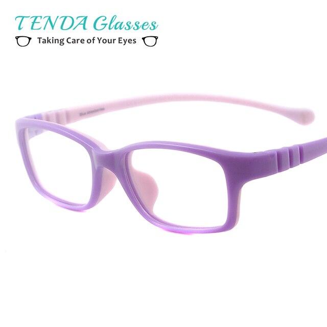 88fb2c3816 Gafas de goma rectangulares coloridas para niños gafas de moda ligeras para  lentes de miopía recetadas