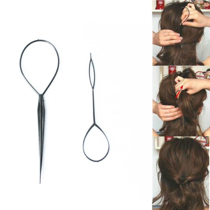 Popular 1 Pair 2 Pcs Hair Braid Maker Ponytail Creator Plastic Loop Styling Tools Black Topsy Pony Tail Clip Styling Tool