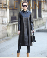 new 2018 women's genuine sheepskin leather long trench overcoat female ladies spring autumn fall clothing black plus size xxl