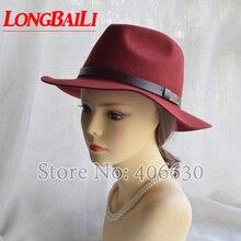 Winter Fashion  Wool Felt Fedora Hats Women Black Wide Brim Hat Felmale Free Shipping SDDW092