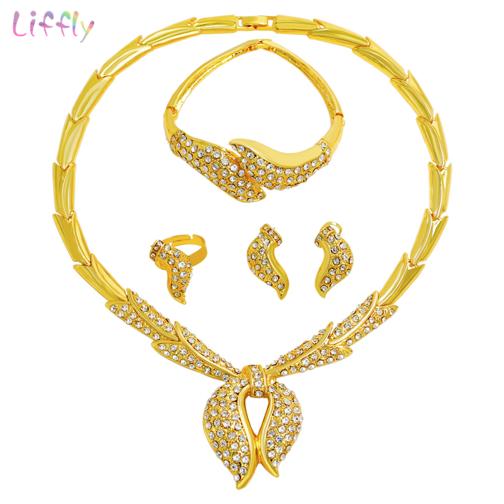 Charm Women Party Dubai Gold Jewelry Sets Personality Style Design Crystal Necklace Bracelet Earrings Fashion Christmas GiftsCharm Women Party Dubai Gold Jewelry Sets Personality Style Design Crystal Necklace Bracelet Earrings Fashion Christmas Gifts