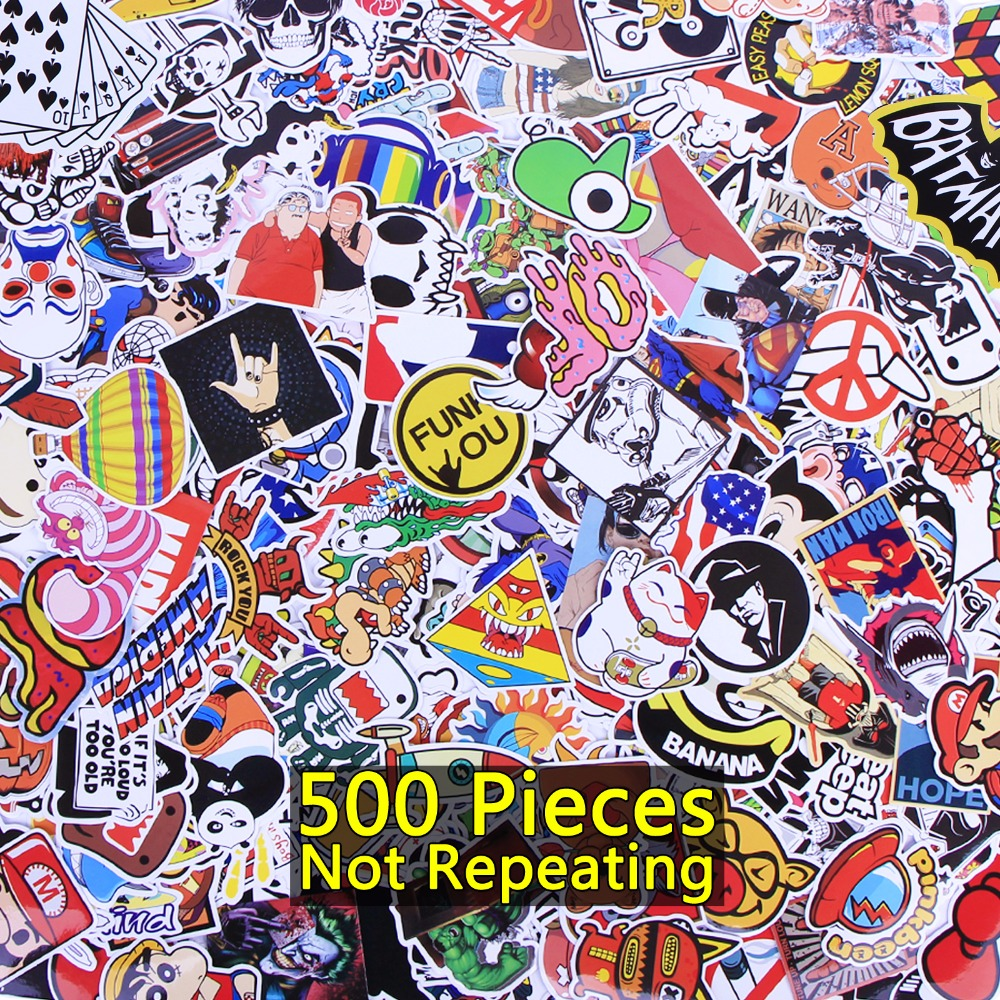 500 Pcs Sticker For Laptop Skateboard Luggage Waterpoof Creative Funny Decals Fridge Phone Car Decal Home Toy Doodle Stickers