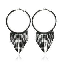 2018 Top New Design Fashion Charm Tassel Hoop Earrings Geometric Round Shiny Rhinestone Big Earring Jewelry Women(China)