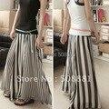 2015 mujer falda larga negro blanco striped patchwork señora extensión de la gasa más el tamaño maxi piso longitud de la falda mujeres falda de verano
