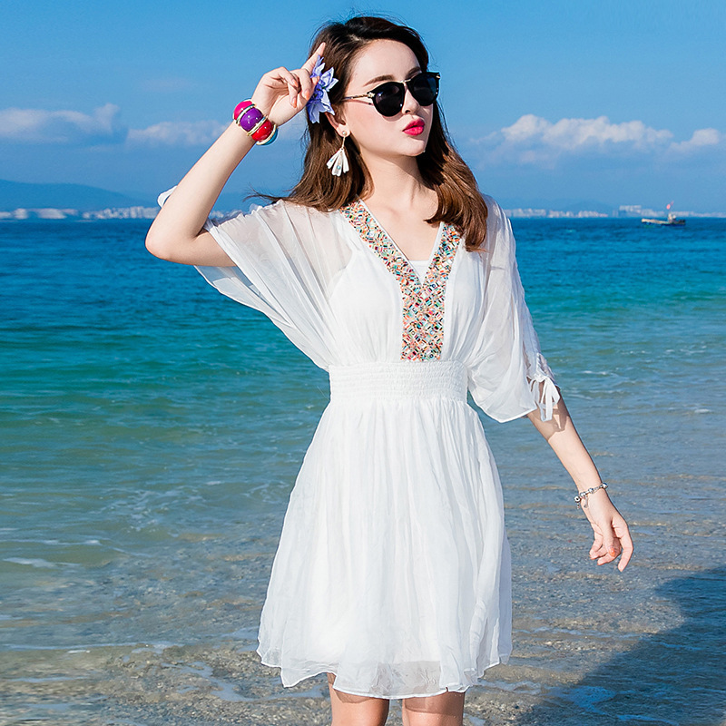 See En Boho Décontracté Blanc Taille Chart De Femmes Été Princesse Plage Robe Soie Mousseline 2019 Grande Printemps Sexy Plus Bohème Long Doux Robes 1nff0FqdT
