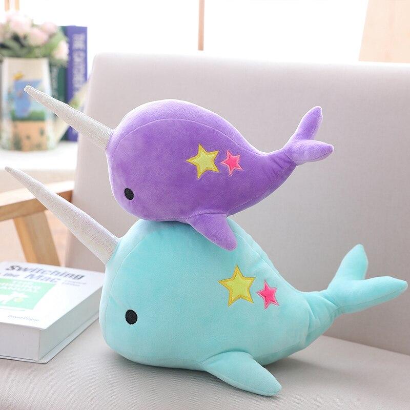 BABIQU 1 pc 25/35 cm Narwhal baleine binaire étoiles poupée en peluche peluche animaux océan mer en peluche coussin canapé décor enfant kawaii cadeaux