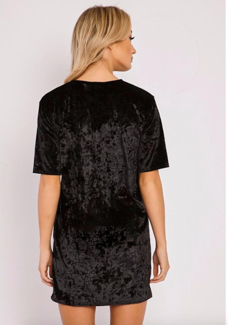 Short Sleeve Velvet Short Casual Dress 12