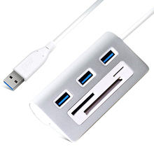 3 Порты и разъёмы мини-считыватель карт анти-скольжение USB Hub высокоскоростной передачи Сетевые Аксессуары из алюминиевого сплава для адаптер Тетрадь