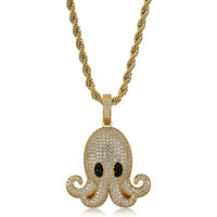 Lucky Sonny Funny Devilfish Pendants & Necklaces with Rope Chain Gold Silver Color Men Accessory CZ Iced Paved Hip Hop Jewelry