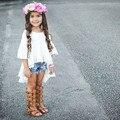 Bonito Branco Ruffled Outfits Algodão Top Blusa Vestido Das Crianças Dos Miúdos Do Bebê Meninas Roupas bonitas Roupa elegante Princesa Meninas Novo