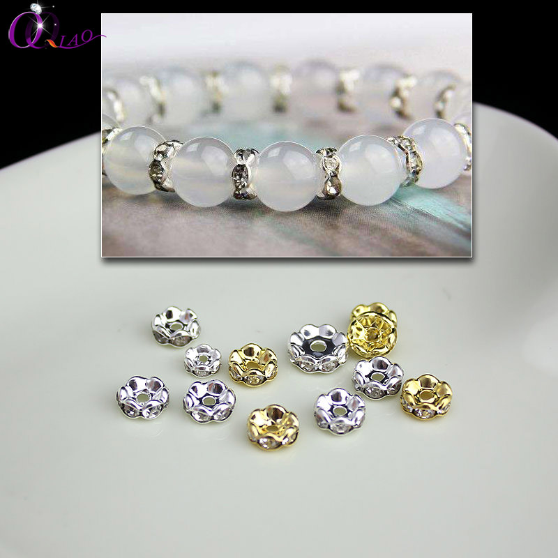 6mm 8mm 10mm 50pcs/pack plated sliver and gold space crystal rhinestone beads for necklace, bracelet , jewlery DIY