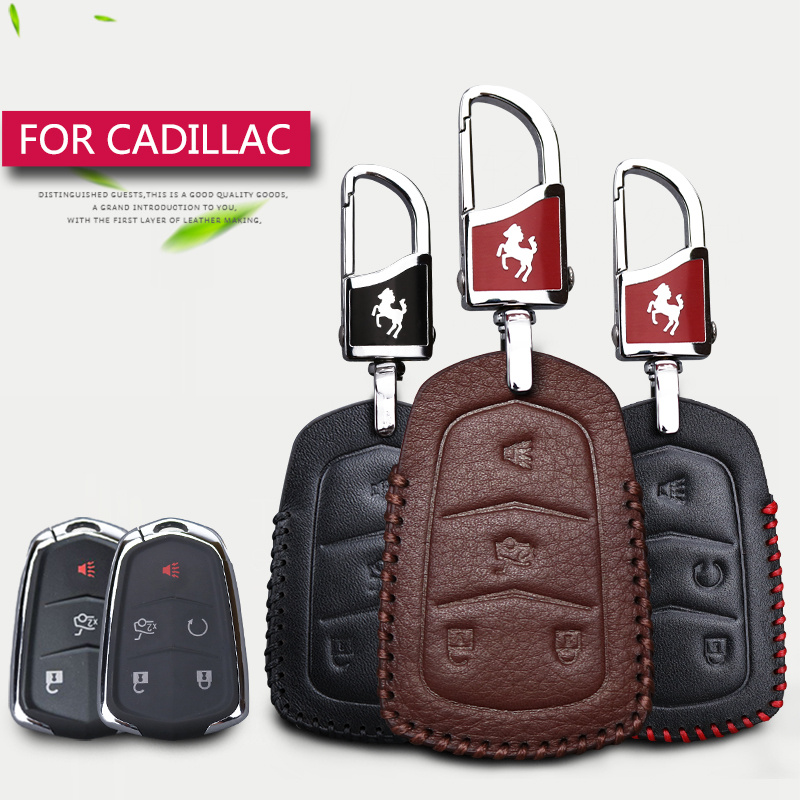 Genuine Leather Car Remote Key Case Cover For Cadillac Escalade ATS XTS CTS SRX XT5 Key Rings Shell 4 5 Buttons Key Holder
