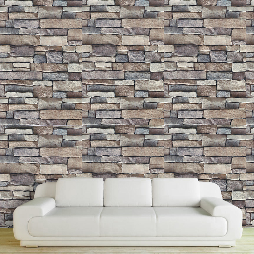 Durable Brown PVC Creative Realistic Wall Stickers Real Look Bricks Rock Wall Paper Prepasted Adhesived Home Decor poster tischsets bambus look