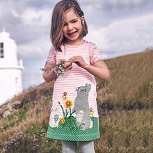 лучшая цена Summer Princess Dress Brand Baby Girls Clothes Short Sleeve Tunic Dress for kid vestido Cotton Casual Dresses Kids Clothing