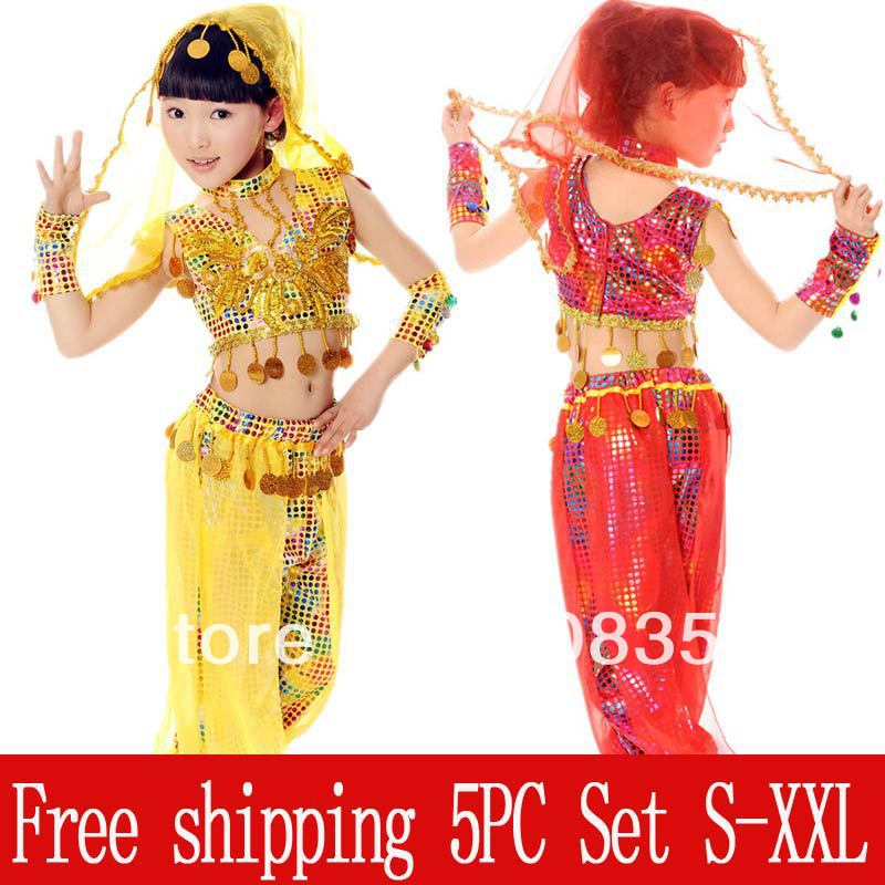 Children's Day Indian Dance Clothes National Dancing Performance Wear Girls Belly Dance Veil Belt Top+Pants 5pc Set