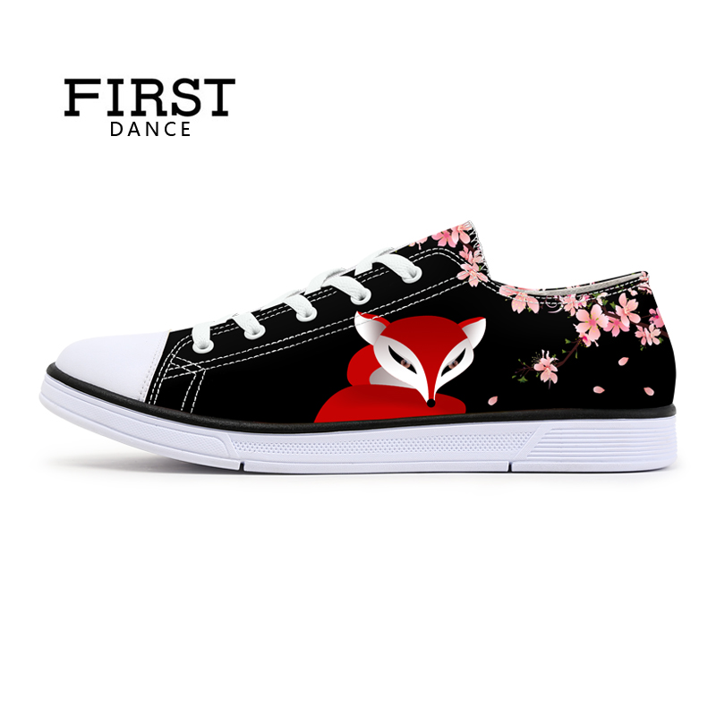 FIRST DANCE Fashion Women Fox Spirit Printed Shoes Classic Canvas Pattern Female Shoes White Floral Walking Floral Lace up Shoes