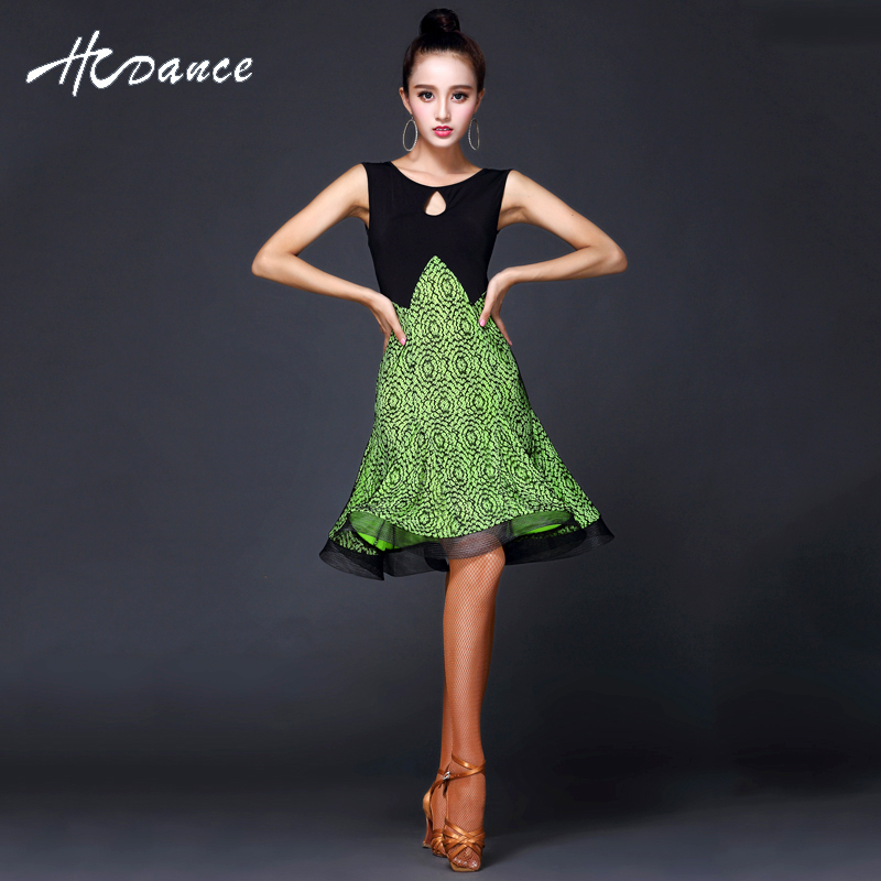 2017 New Brand 3Colors Latin Dacne Dress Silk Black Sleeveless Flamengo Salsa Tango Dress Ballroom Competition Latin Dress A359