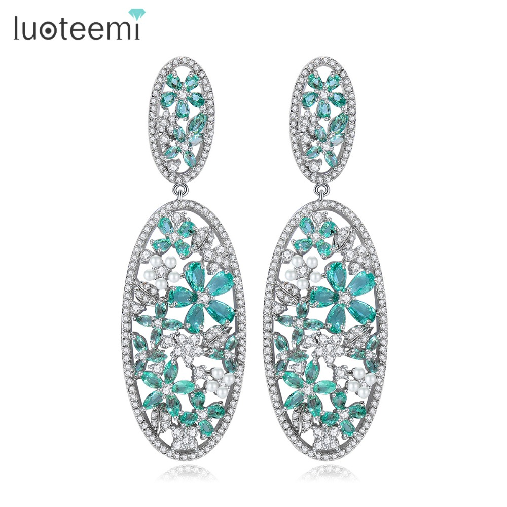 цена на LUOTEEMI 2017 New Vintage Silver-color Green Teardrop CZ Flower Oval Statement Hollow Out Stud Earrings For Women Wedding Gift