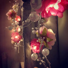 LED Rose Flower with Decoration Bead Luces Fairy String Lights Garland Party Wedding Christmas Fairy 2M 20LEDs MYC(China)