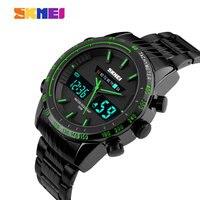 SKMEI Sport Dual Dial Quartz Watch Men Full Stainless Steel Strap Alarm Calendar 2 Time Zone
