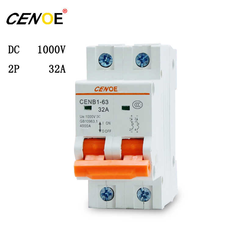 free shipping 2P 1000V 32A dc solar breaker high quality dc breaker solar for global solar photovoltaic power generation