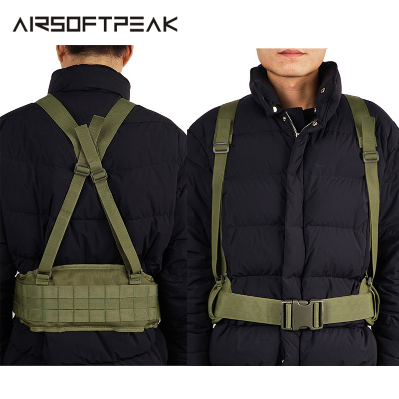 Military Tactical Belt Molle Adjustable Suspenders Shooting Wargame Men H-Shaped Soft Outdoor Sport Waistband Hunting Accessory