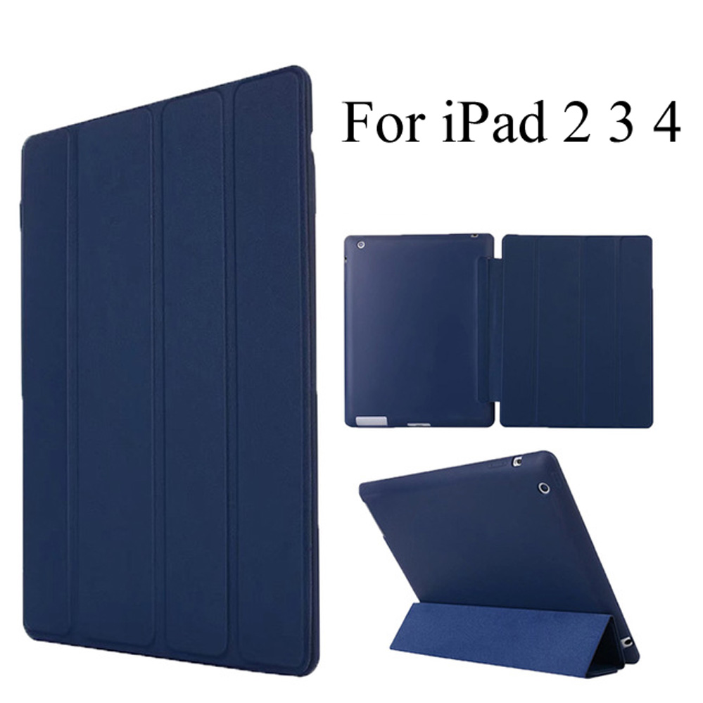 For ipad 2 / 3 / 4 Case Leather Case Soft TPU Back Trifold Smart Cover Shockproof Protective Case for iPad 2/3/4 + Gift nice soft silicone back magnetic smart pu leather case for apple 2017 ipad air 1 cover new slim thin flip tpu protective case
