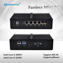 Qotom-Q330G4/Q355G4 Мини-ПК Core i3 4005U i5 5250U AES-NI pfsense как маршрутизатор брандмауэра безвентиляторный 4 Ethernet LAN небольшой мини компьютер