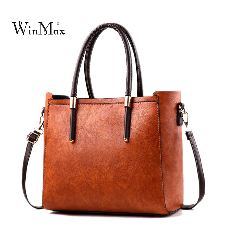 Women Leather Handbags Vintage Shoulder Bag Female Casual Tote Bag Solid Handbag High Quality Sac a Main Ladies Crossbody Bags