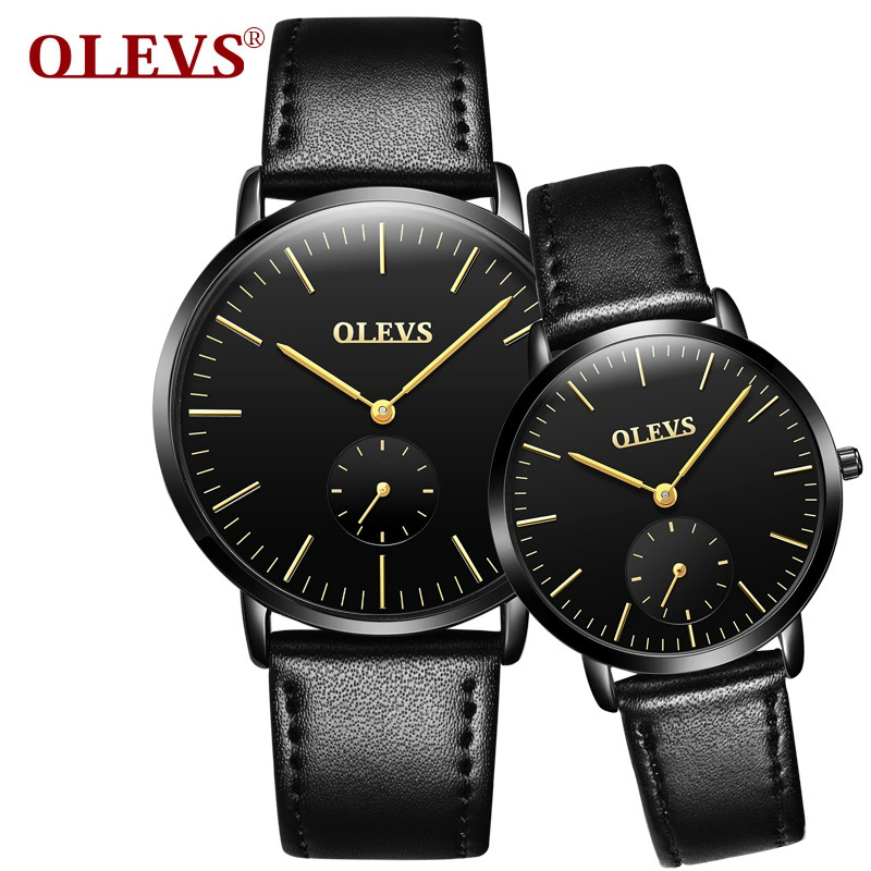 2017 OLEVS Brand Couple Quartz Watch Men Waterproof Fashion Casual Sports Watches Women Leather Wristwatches Relogio Masculino