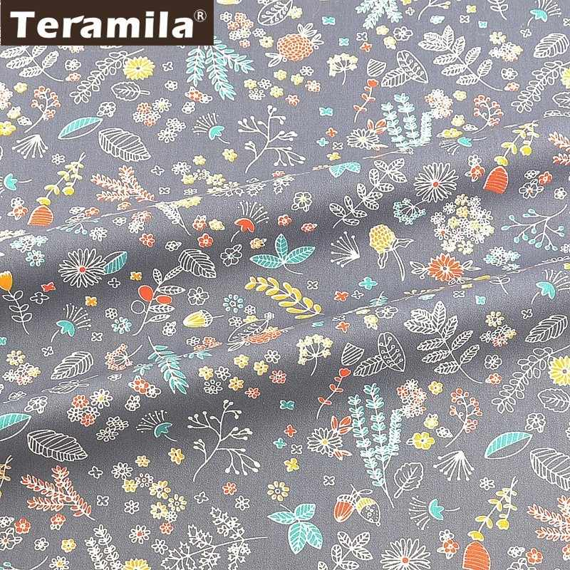 Teramila Flowers 100% Cotton Fabric Meters Telas Algodon Cloth DIY Sewing Curtains Dress Patchwork Quilts Beedsheet Home Textile
