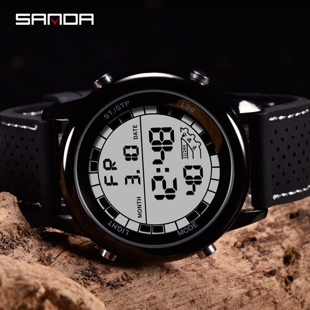 SANDA-montre numérique pour hommes, de luxe, montre-Bracelet de Sport, de luxe, Led lumineuse, affichage numérique, chronographe chronomètre 4