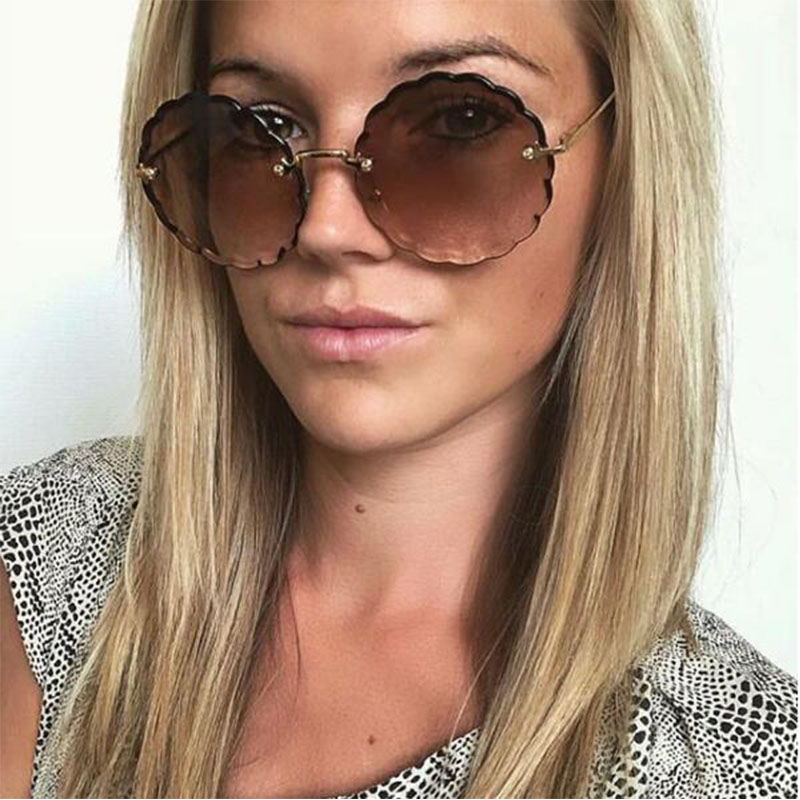 4f9c2a4dbb Round Rimless Sunglasses Stylish Brand Designer Gradient Sun Glasses For  Women Flower Shaped Retro Sunglass 2018 Classic Eyewear