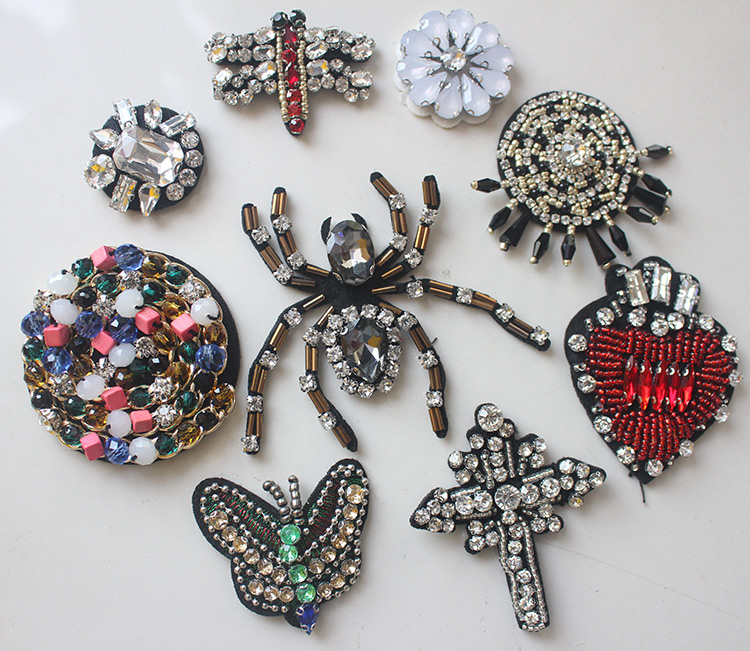 Beaded rhinestone crystal sequins patches applique for for Applique decoration