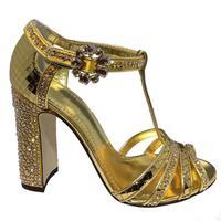 Новый золотой решетки зеркало со стразами на высоком каблуке, сандалии с открытым носком со стразами и пряжкой Женская Коренастый Высокий к