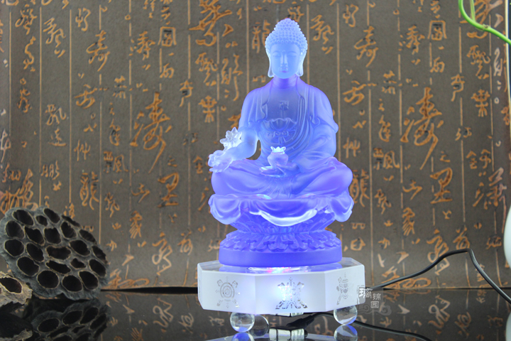 GOOD figure Buddha HOME efficacious Talisman Protection Retro Tibetan Medicine Guru Buddha Colored Glaze crystal Buddha