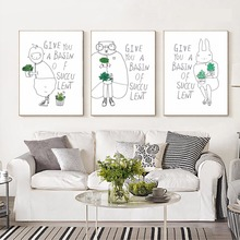 Nordic Canvas paintings simple HD pictures and posters for living room home docor cute pet green plant