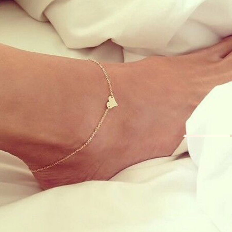 Summer new arrivals barefoot sandals jewelry simple Metal heart gold anklet designs classic charms barefoot sandals leg chain