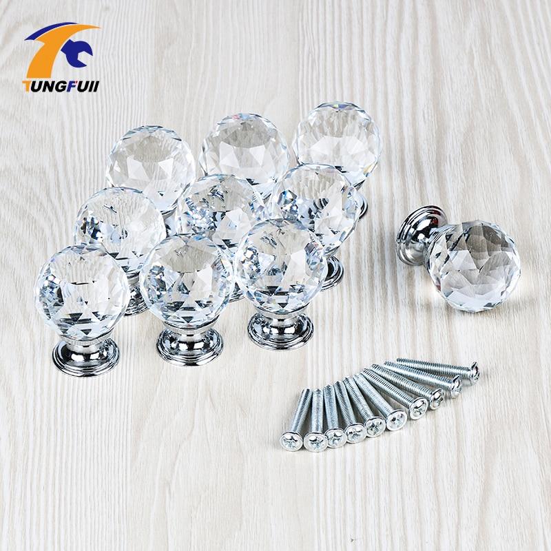 Fast Shipping 30mm Shining Crystal Diamond Ball Glass Drawer Handles Kitchen Armario Dresser Knobs Closet Decoration+Screws css clear crystal glass cabinet drawer door knobs handles 30mm