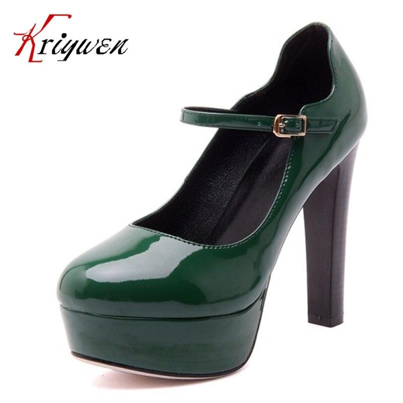 Здесь можно купить   large size 32-42 Fashion Women Round Toe Shallow Shoes Sexy Mature Pumps black Green  Ultra 12cm High Heels rubber soles pumps Обувь