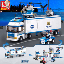 572PCS 2IN1 City Deformation Police Station Truck Helicopter SWAT  Building Blocks Sets Creator Bricks Toys 2054pcs police station prison figures building block kits compatible city swat bricks toys for boys truck helicopter