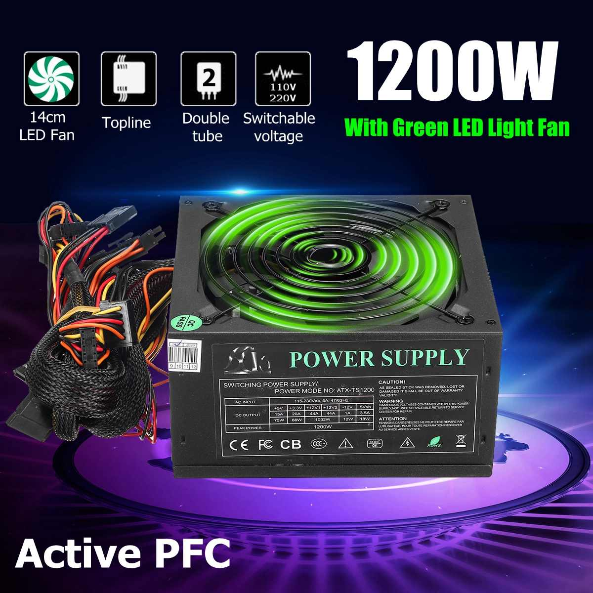 1200 W Alimentation PC Pour Ordinateur Module PC PSU 24Pin SATA 6Pin 4Pin Silencieux ventilateur LED 80plus